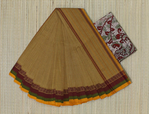 NTSC2- hand woven chicoo colour saree with tri colour thread border narayanpet cotton saree with kalamkari blouse
