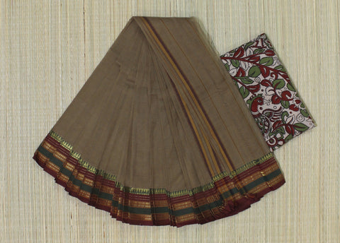 NZP3- hand woven faded grey saree with multiple thread border narayanpet cotton saree with kalamkari blouse