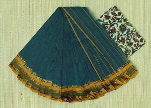 NZP4- hand woven blue saree with multiple thread border narayanpet cotton saree with kalamkari blouse