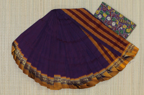 NZP5- hand woven purple saree with mustard yellow peacock thread border narayanpet cotton saree with kalamkari blouse