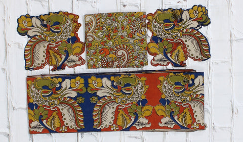 OBPBB SET-Kalamkari patch set  for saree with border,blouse and patches
