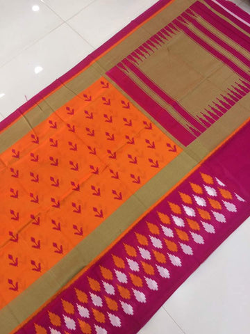 jsipo-Jute silk ikkat print orange saree with contrast blouse - LydiasPurple