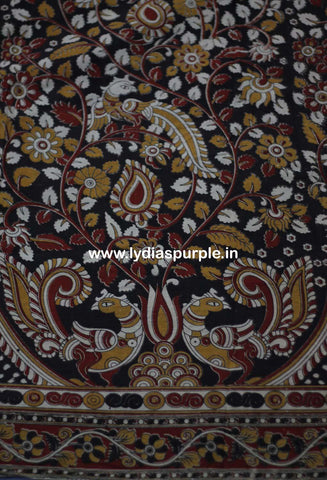 PKBR01-Multi colour Kalamkari fabric - LydiasPurple