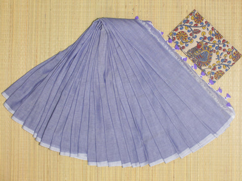 PKKL01-handloom lavender colour khadi cotton saree with running blouse and kalamkari blouse