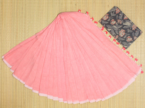 PKKP01-handloom peach colour khadi cotton saree with running blouse and kalamkari blouse