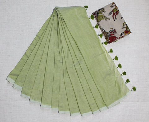 PKPGKB01-handloom pista green colour khadi cotton saree with running blouse and  kalamkari blouse
