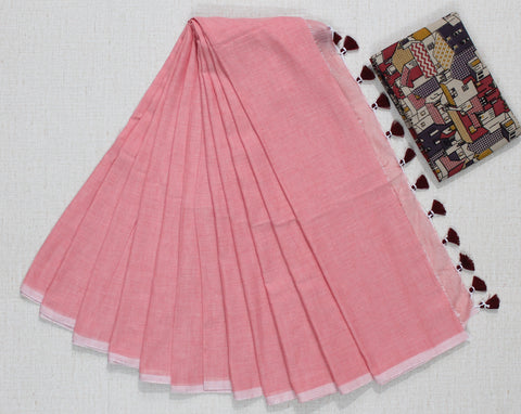 PKPS01-handloom peach shade khadi cotton saree with running blouse and kalamkari blouse