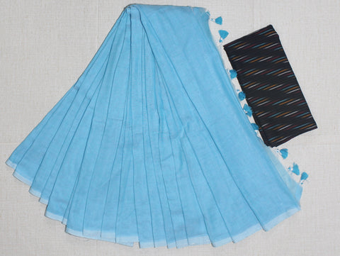 PKSBIB01-handloom skyblue khadi cotton saree with running blouse and ikkat blouse