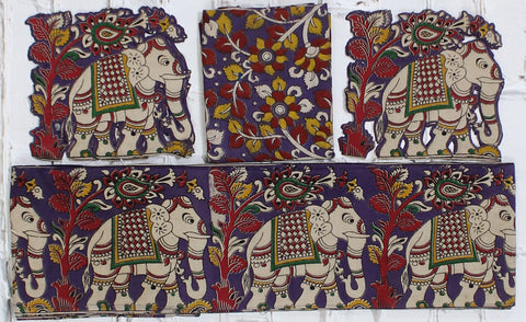 PRPBBE SET-Kalamkari patch set  for saree with border,blouse and patches