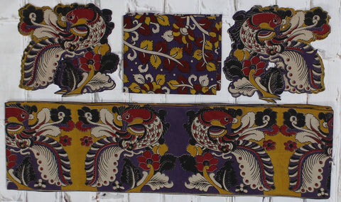 PYBBSET-Kalamkari patch set  for saree with border,blouse and patches