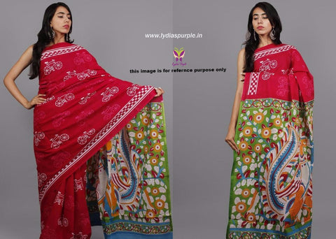LPRC01- baghru block printed rani pink malmal cotton saree with kalamkari pallu - Lydiaspurple