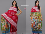 LPRPB01- baghru block printed malmal cotton saree with kalamkari pallu - Lydiaspurple