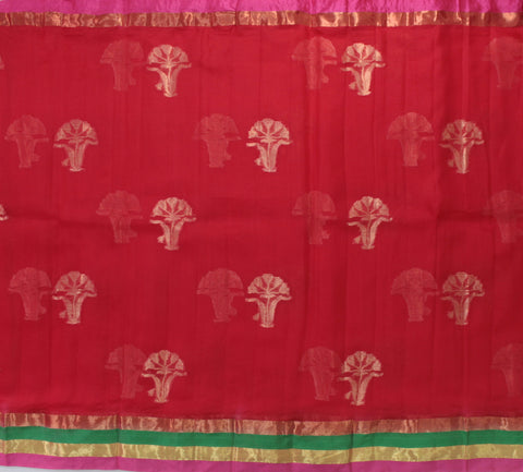 IKSR-RED kota SILK saree with zari butta and satin zari border - LydiasPurple