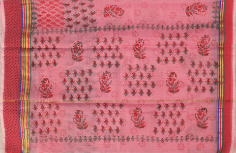 KCS01- block print pinkish peach  kota cotton saree with zari border