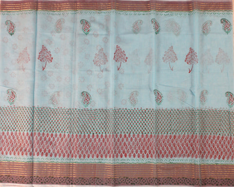 KCS06- block print sky blue kota cotton saree with zari border