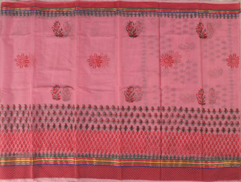 KCS02- block print Pink kota cotton saree with zari border - LydiasPurple