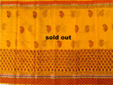 KCS03- block print mustard yelloow kota cotton saree with zari border - LydiasPurple