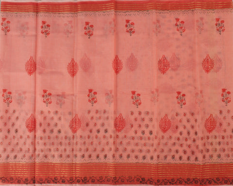 KCS07- block print Peach kota cotton saree with zari border - LydiasPurple