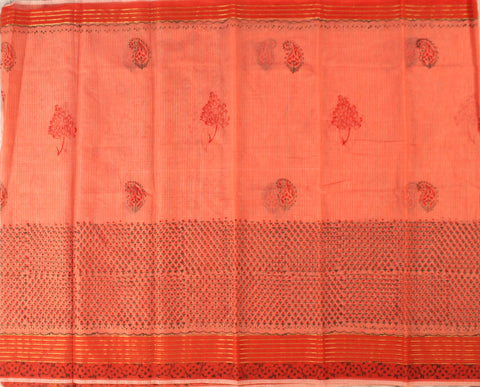 KCS05- block print kankambaram kota cotton saree with zari border - LydiasPurple