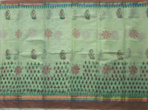 KCS08- block print pista green kota cotton saree with zari border - LydiasPurple