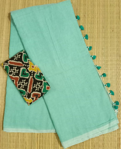 KPTQKB02-handloom turquiose khadi cotton saree with running blouse and kalamkari blouse