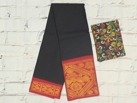 SCBB01 - Sungudi cotton saree with  dual border and designer kalamkari blouse