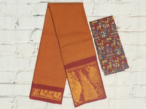 SCBB02 - Sungudi cotton saree with dual border and designer kalamkari blouse