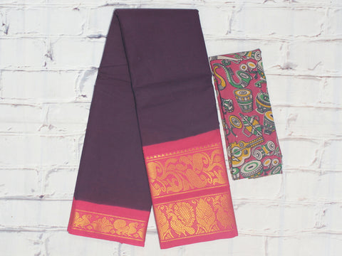 SCBB03 - Sungudi cotton saree with dual border and designer kalamkari blouse