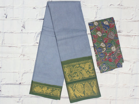 SCBB04- Sungudi cotton saree with dual border and designer kalamkari blouse
