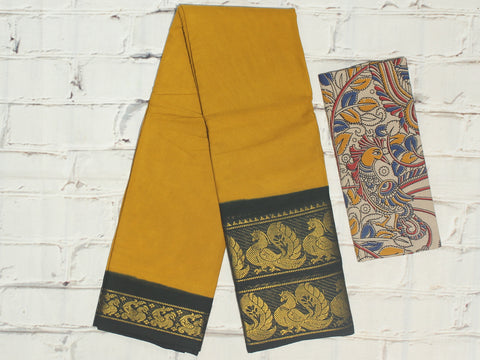 SCBB05 - Sungudi cotton saree with dual border and designer kalamkari blouse