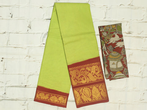 SCBB06 - Sungudi cotton saree with dual border and designer kalamkari blouse