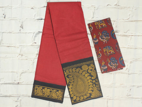 SCBB07- Sungudi cotton saree with dual border and designer kalamkari blouse