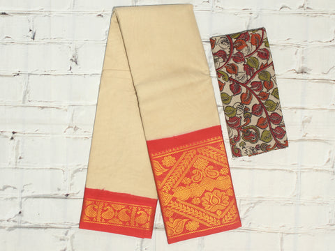 SCBB08- Sungudi cotton saree with dual border and designer kalamkari blouse