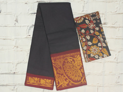 SCBB10- Sungudi cotton saree with dual border and designer kalamkari blouse