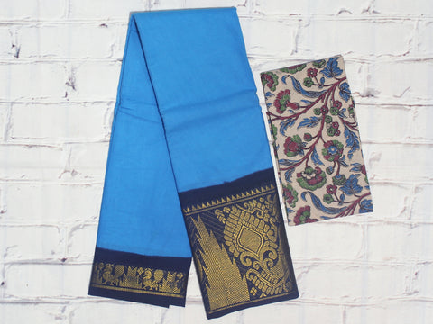 SCBB11 - Sungudi cotton saree with dual border and designer kalamkari blouse