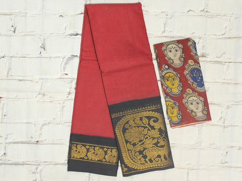 SCBB12- Sungudi cotton saree with dual border and designer kalamkari blouse