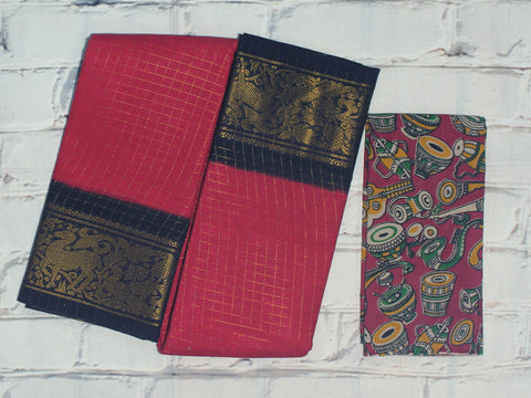 SCCS04- Sungudi zari checks cotton saree with dual border and designer kalamkari blouse