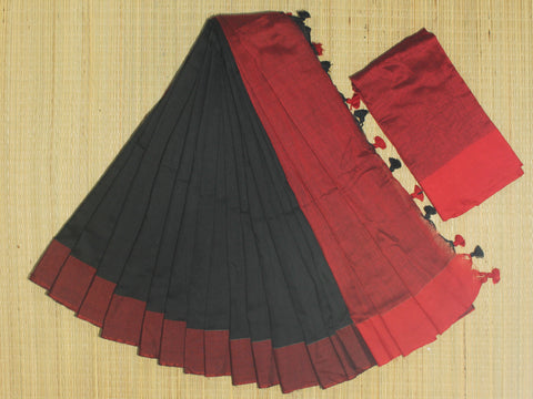 SKC01- blended handloom khadi cotton blackand red saree with running blouse