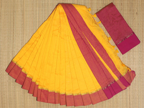 SKC03- blended handloom khadi cotton yellow and pink saree with running blouse