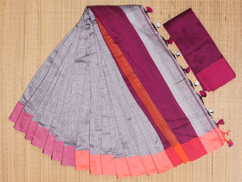 SKC04- blended handloom khadi cotton yellow and pink saree with running blouse