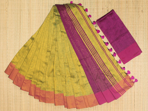 SKC05- blended handloom khadi cotton mustard yellow and pink saree with running blouse