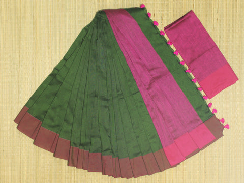 SKC06- blended handloom khadi cotton bottle green and pink saree with running blouse