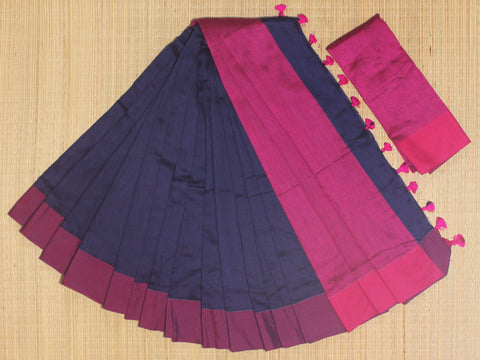 SKC07- blended handloom khadi cotton navy blue and pink saree with running blouse