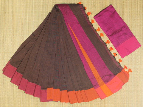 SKC08- blended handloom khadi cotton coffee brown and pink saree with running blouse