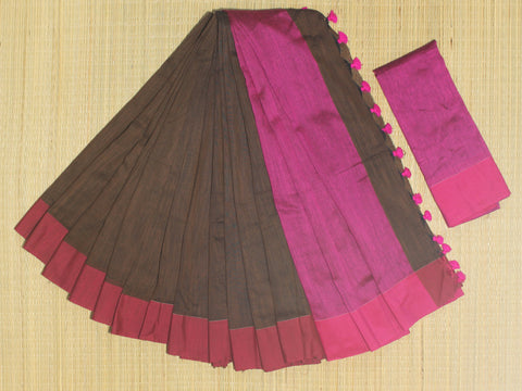 SKC09- blended handloom khadi cotton  brown and pink saree with running blouse