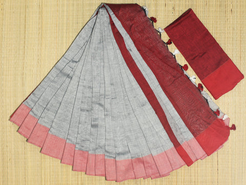 SKC10- blended handloom khadi cotton  grey and red saree with running blouse