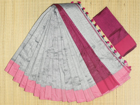 SKC11- blended handloom khadi cotton  grey and pink saree with running blouse