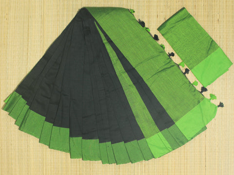 SKC12- blended handloom khadi cotton  black and green  saree with running blouse