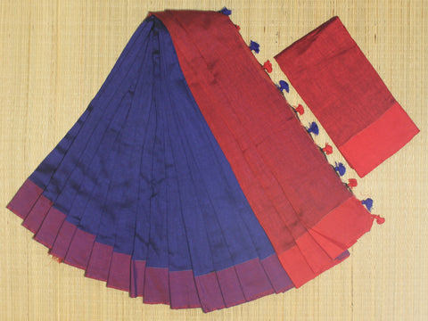 SKC13- blended handloom khadi cotton  royal blue and red  saree with running blouse