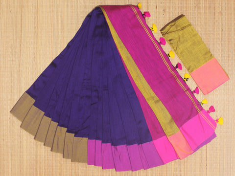 SKC14- blended handloom khadi cotton  royal blue,pink and mustard yellow  saree with running blouse